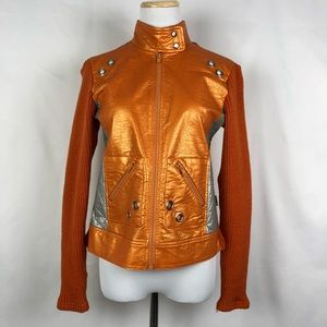 Jackets & Blazers - Faux metallic leather with knit back and sleeves